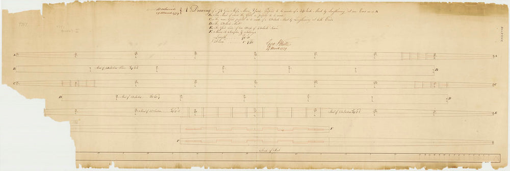A proposal to lengthen the yard oat one end and a proposal tom lengthen the yard at both ends for a 74-gun ship, 1779