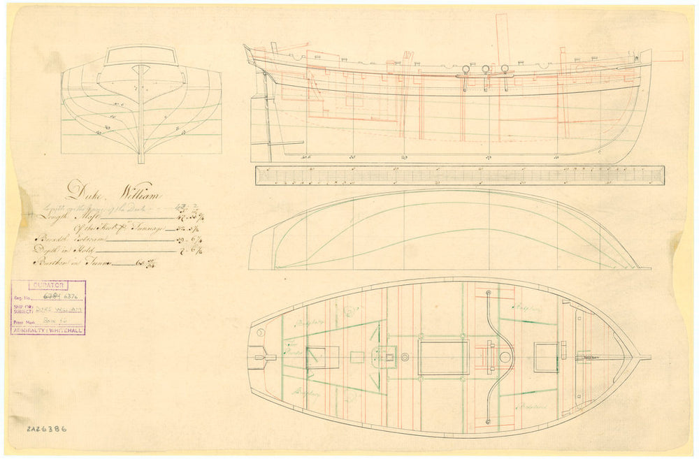 Plan showing the body plan with stern board outline, sheer lines with inboard detail, longitudinal half-breadth, and deck plan for Duke William (1763)