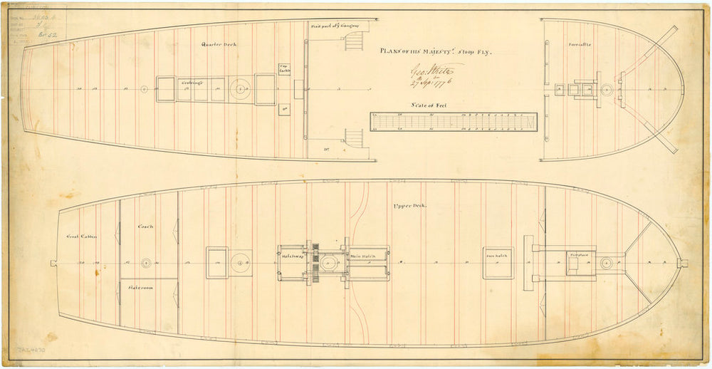 Quarter and Upper deck plan of HMS 'Fly' (1776)