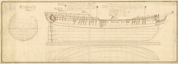 Lines plan for 'Fly' (1776)