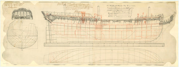 Lines & inboard profile, decoration of 'Fly' (1776)