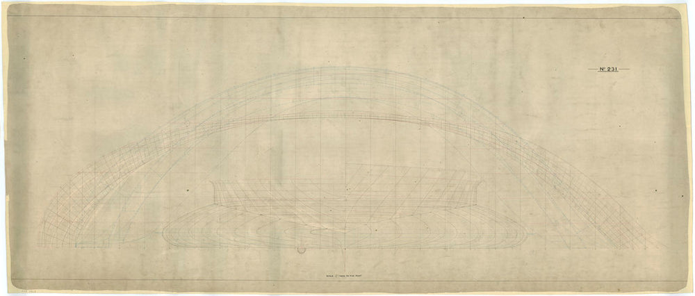 A plan showing the longitudinal half-breadth and body of the 'Livadia' (1880), an Imperial Russian Royal Yacht
