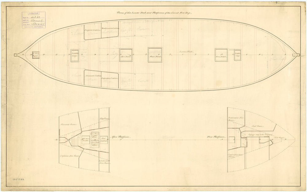 Lower deck plan for Comet (1783)