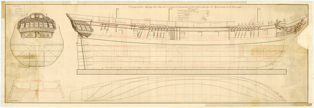 Lines & profile plan for Comet (1783)