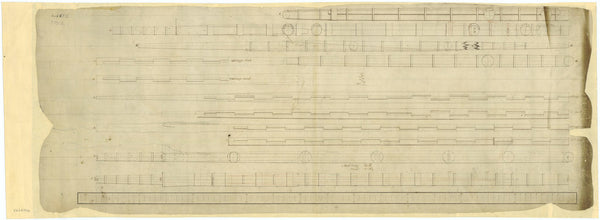 Plan of the masts & yards for an unknown vessel