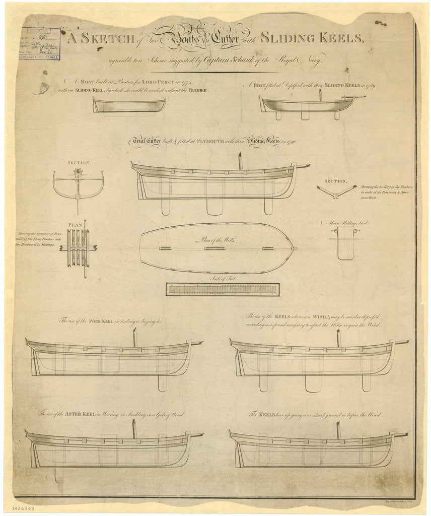 Sliding keel designs by Captain Schank for two boats and 'Trial' (1790)