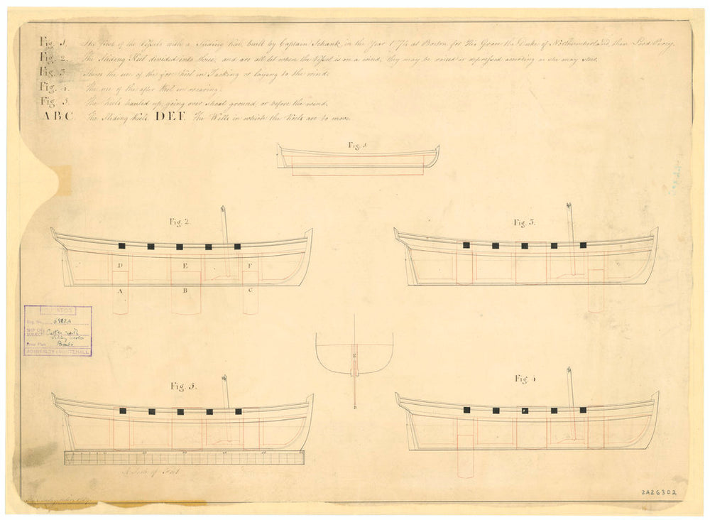 Sliding keel designs by Captain Schank for an unnamed boat (1774) and and unnamed cutter (no date)