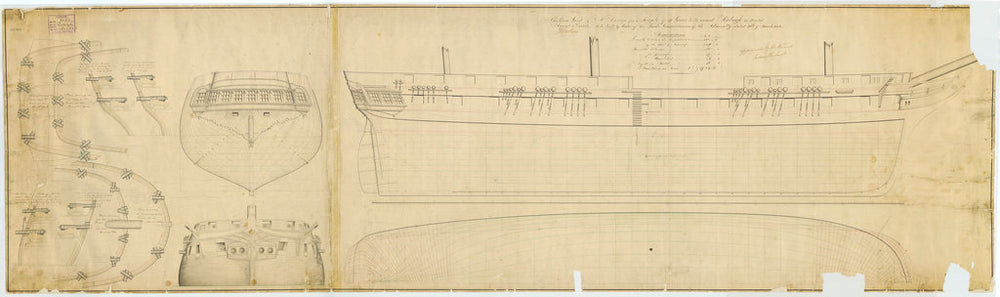 Lines plan for Raleigh (1846)