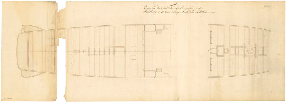 Plan for the 50-gun, 4th rate 'Salisbury' (1769)