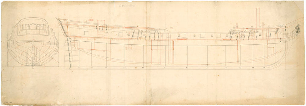 Unnamed 24-gun three-masted ship. Plan named 'Dolphins Prize'