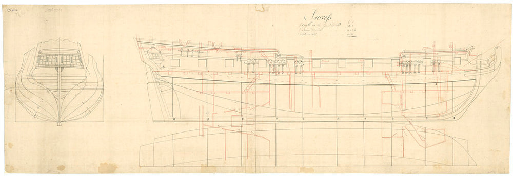 A plan showing the body with stern board detail, inboard profile and longitudinal half-breadth with superimposed plan of platforms of the Success (1712), a 20-gun Sixth Rate
