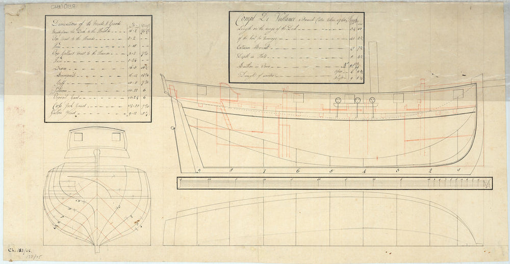 Inboard profile, body with sternboard detail and longitudinal half-breadth plan of the Compt De Vallance (Le Comte de Vallance) (1761)