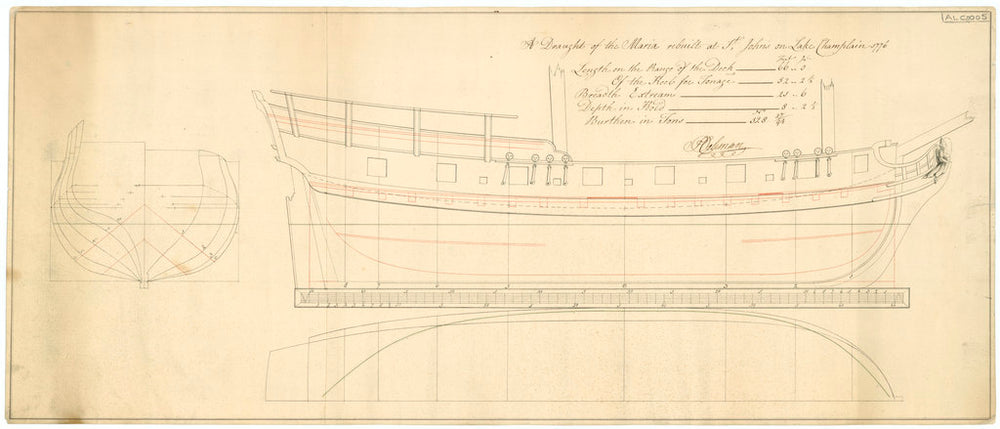 The body, sheer lines and figurehead ship plans for 'Maria' (1776)