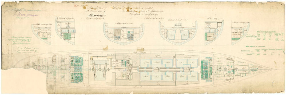 Admiralty plan showing the hold of the broadside ironclad 'Warrior' (1860)