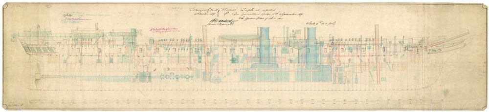 Admiralty plan showing the inboard profile of the broadside ironclad 'Warrior' (1860)