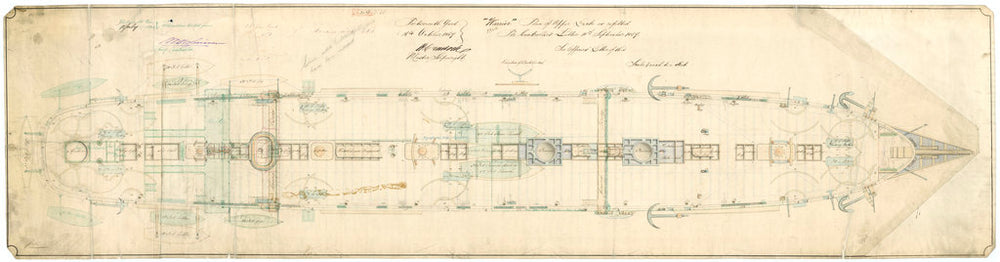 Admiralty plan showing the upper deck of the broadside ironclad 'Warrior' (1860)
