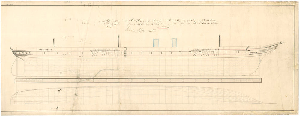 Admiralty plan showing the sheer lines and longitudinal half-breadth of the broadside ironclad 'Warrior' (1860)