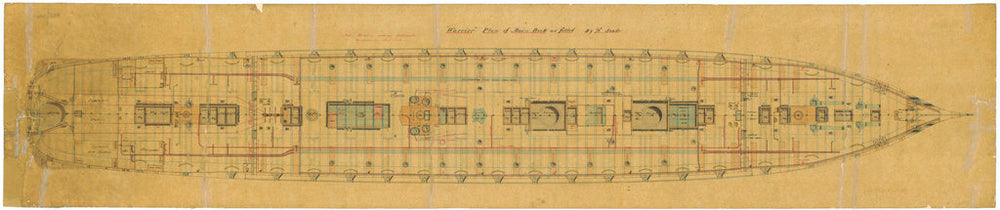 Admiralty plan showing the main deck of the broadside ironclad 'Warrior' (1860)