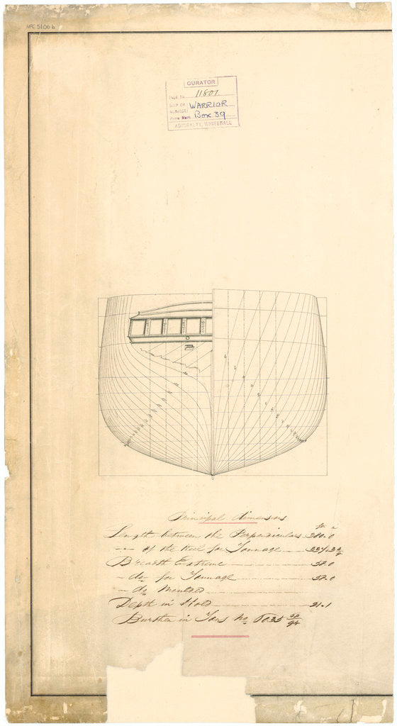 Admiralty plan showing the body of the broadside ironclad 'Warrior' (1860)
