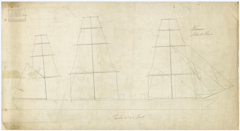 Plan of 'Warrior' (1860) and 'Black Prince' (1861)
