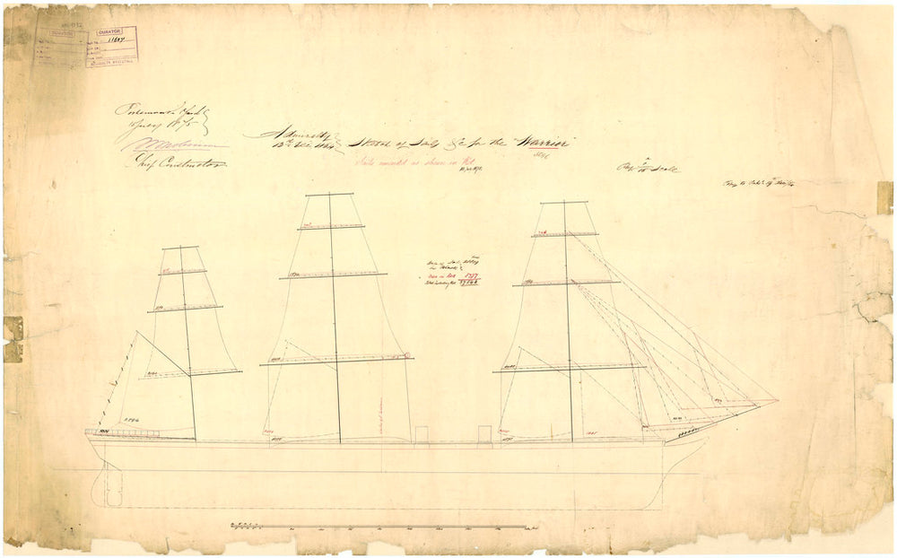 Admiralty plan showing the sail arrangement of the broadside ironclad 'Warrior' (1860)