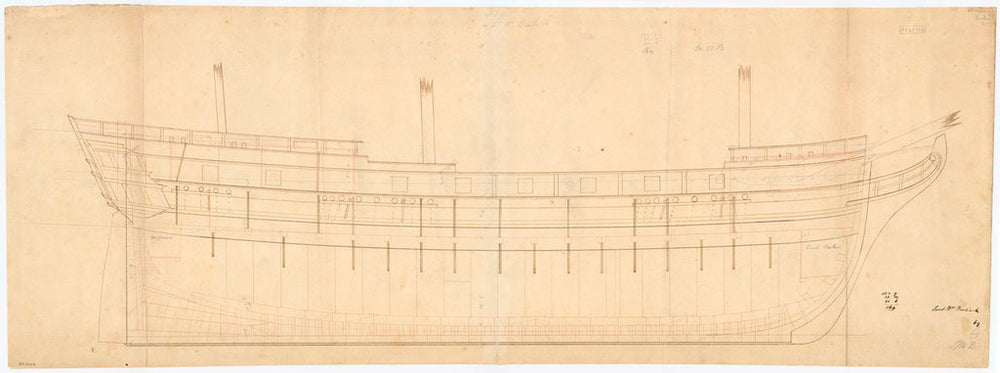 Inboard profile plan for the 'Lord William Bentinck' (1828)