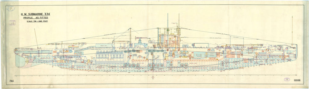 Inboard profile of submarine 'E34' (1917) as fitted