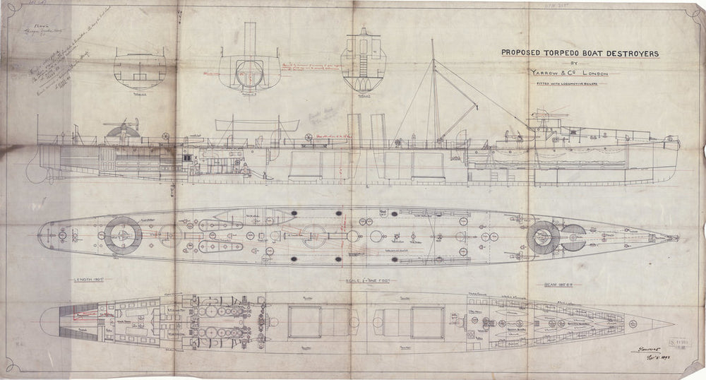 General arrangement plan of torpedo boat destroyer HMS 'Charger' (1894)