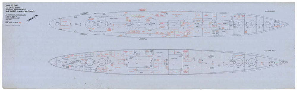 Ship plan of Royal Navy light cruiser HMS Belfast (C35) (1938)
