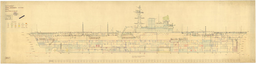 Inboard profile plan of HMS Victorious (1939), as rebuilt