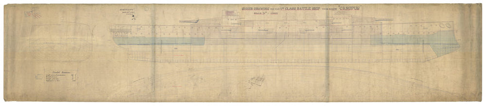 Inboard profile plan for HMS Canopus (1897)