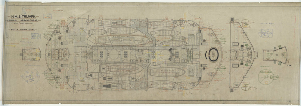 Boat & shelter decks plan for Triumph (1903)