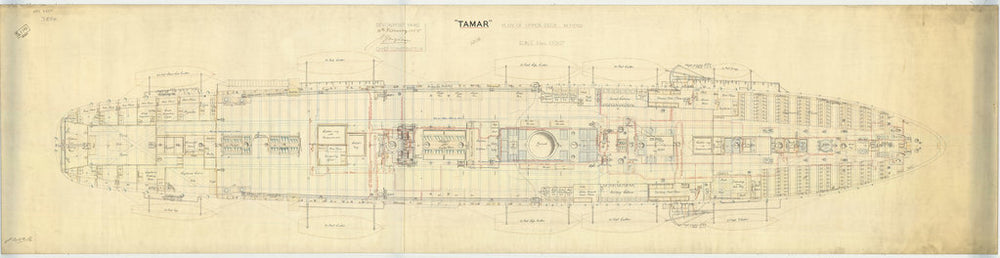 Upper deck plan for HMS 'Tamar' (1863)