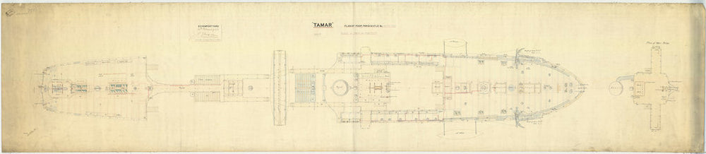 Poop deck, forecastle deck and bridges plan for HMS 'Tamar' (1863)