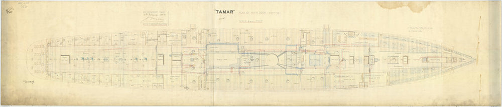 Main deck plan for HMS 'Tamar' (1863)