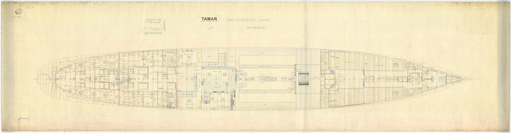 Lower deck plan for HMS 'Tamar' (1863)