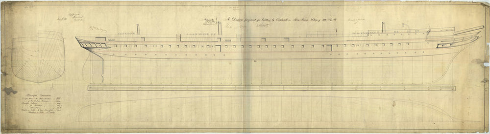 Lines, profile, half breath, and body plan for HMS 'Tamar' (1863)