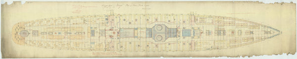 Main deck plan for HMS 'Tamar' (1863), as fitted