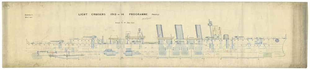 Inboard profile plan for HMS 'Caroline'