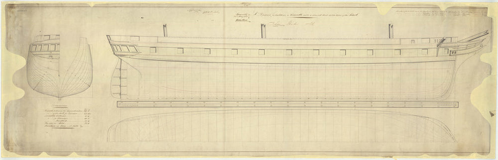 Body, sheer lines, and longitudinal half-breadth plan for Challenger (1858), Racoon (1857) and Clio (1858)