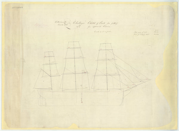 Sail plan for 'Challenger' (1858)