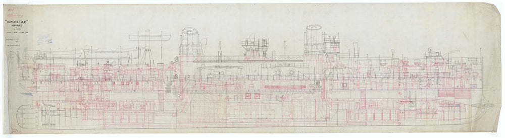 Inboard profile plan for Inflexible (1876)