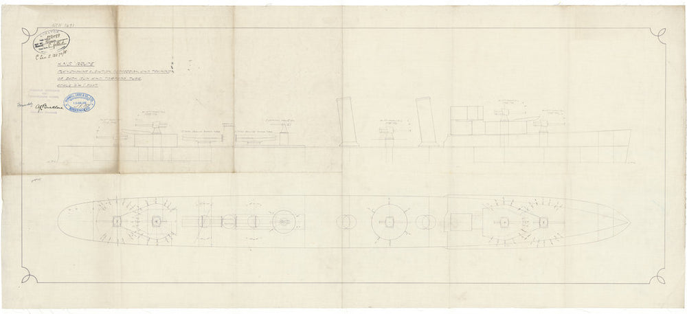 Gun and torpedo elevations: profile and plan for HMS Bruce (1917) in 1918
