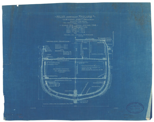 Midships section plan of Endurance (1912), as Polaris