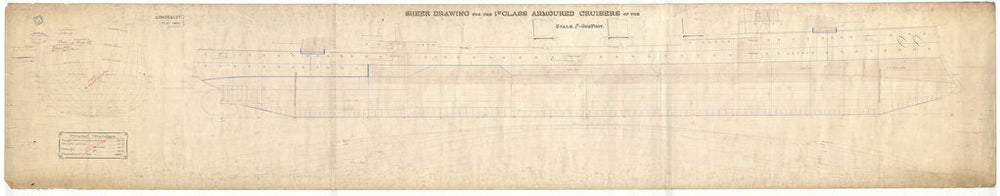 Body plan, sheer lines and longitudinal half-breadth plan for HMS Antrim (1903) as proposed 1901