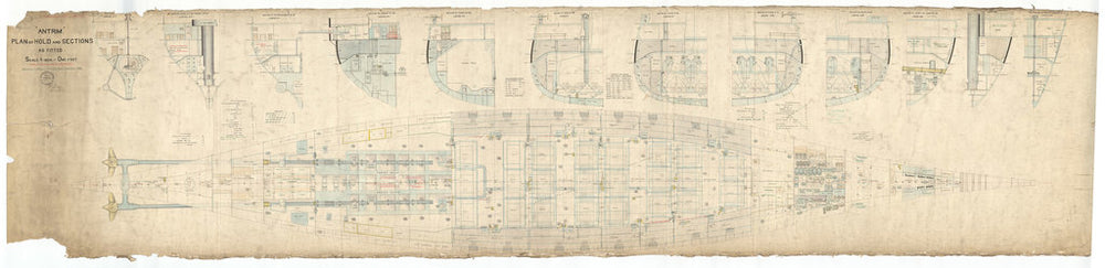 Holds and sections plan for HMS Antrim (1903)