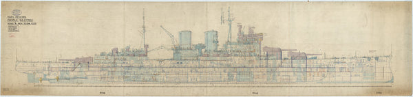 Profile plan for HMS Renown (1916) as fitted 1940