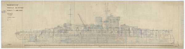 Profile plan of HMS Warspite (1913) in 1937