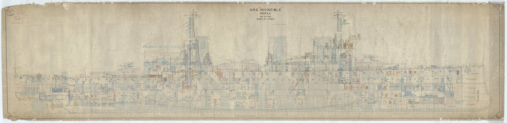 Inboard profile plan for Invincible (1907)