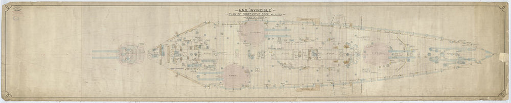 Forecastle deck plan for HMS Invincible (1907)